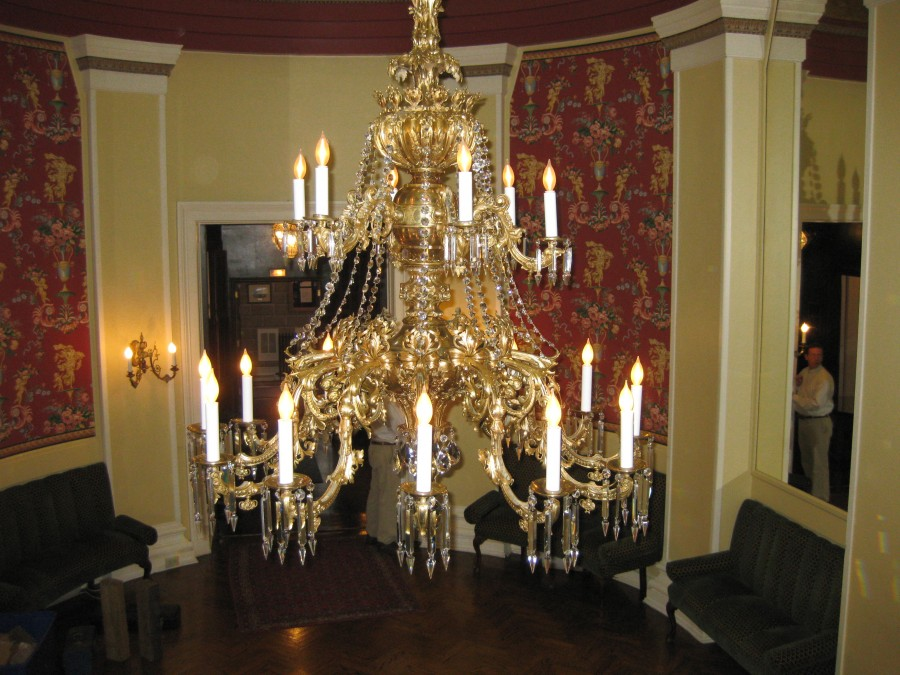 Gilt Bronze Chandelier Restoration for Club
