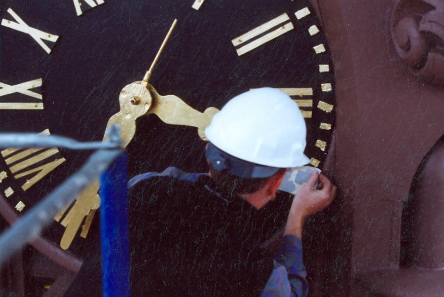 Tower Clock Gilding and Stenciling for Wesleyan University Chapel